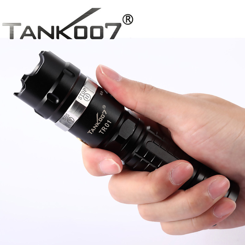 tank007 TR01 cree led high powerful Rechargeable Outdoor Flashlight linterna 1*18650 night search explorer torch mini led torch penlight cree cree xml t6 high bright led flashlight protable flash light 2000lm linterna keychain flashlights