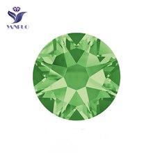 YANRUO #2088HF SS20 Peridot 1440Pcs 8 Big Small Hotfix Flat Back Glass Rhinestone Strass Crystal Stone For Clothes