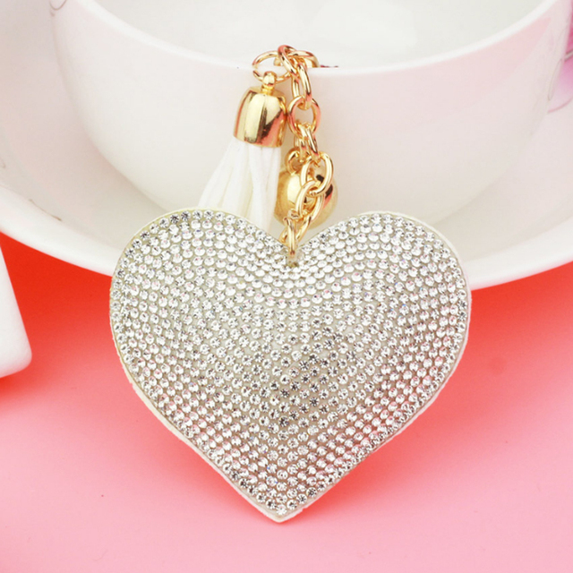 Long Crystal Heart Tassel Keychain
