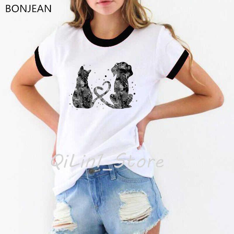 מצחיק t חולצת נשים בצבעי מים חתול וכלב הדפסת טי חולצה femme אהבת אמנות חולצה נשי harajuku kawaii tshirt קוריאני בגדים
