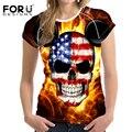 Forudesigns mulheres t-shirt casual manga curta camiseta crânio punk rock harajuku fogo clothing tops respirável aptidão das mulheres s