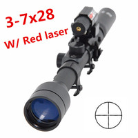 Tactical airsoft 3-7X28 Air Gun Rifle Optics Cross Reticle Scope +20mm Rail Mounts +Red Dot Laser Sight For Hunting Weapon rifle