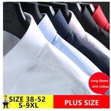 Camisa Masculina – Chemise à manches longues pour Homme, blanc, 5XL, 6XL, 7XL