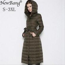 NewBnag מותג ארוך למטה נשים ברווז למטה מעיל חורף מעיל אישה 2018 נוצת חם Slim מעיל רוח ברדס נשי הלבשה עליונה