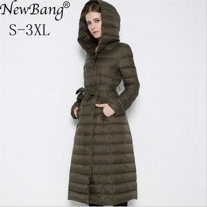 Image 1 - NewBnag Brand Long Down Women Duck Down Jacket Winter Coat Woman 2018 Feather Warm Slim Windbreaker Female Hooded Outerwear