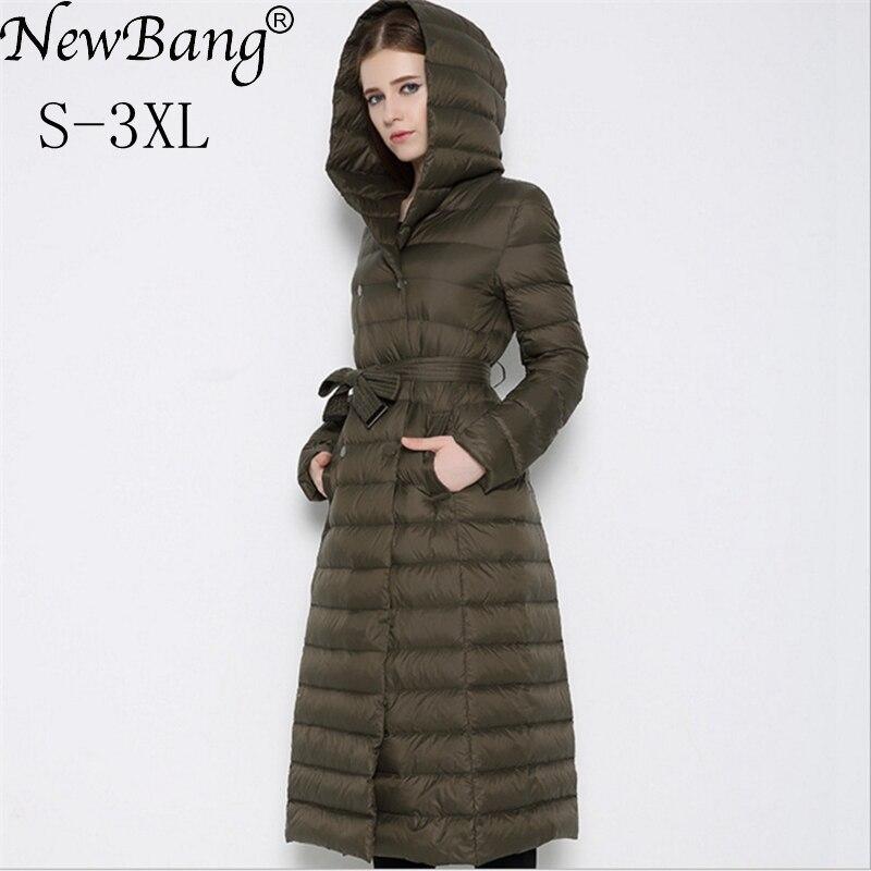 NewBnag marca mujeres de largo abajo pato abajo cubre la chaqueta del invierno  mujer 2018 pluma caliente Slim Windbreaker mujer Abrigo con capucha 4910d2890bd2