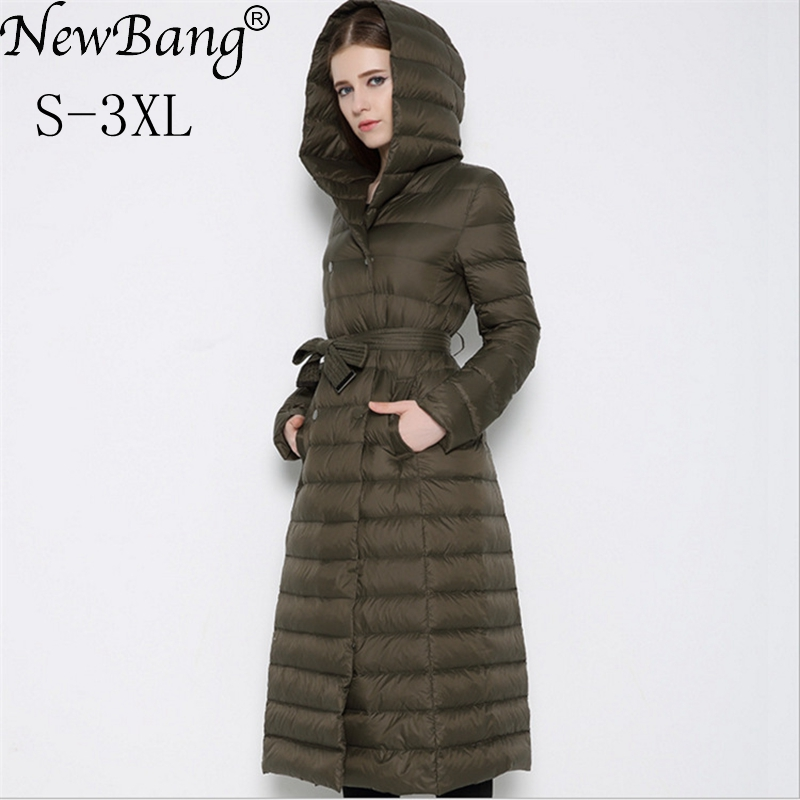 Newbnag бренд долго вниз Для женщин утка пуховик Зимнее пальто женщина 2018 перо теплый тонкий ветровка женская верхняя одежда с капюшоном