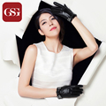 2016 GSG Brand Fashion Ladies Short  Leather Gloves Dressing TouchScreen Gloves With White Crystal Elegant Gloves for Women