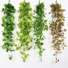 1 M Artificial Flowers Ivy Green Leaf Plants Vine Fake Foliage Flowers Home Decor Plastic Artificial Flower Rattan String