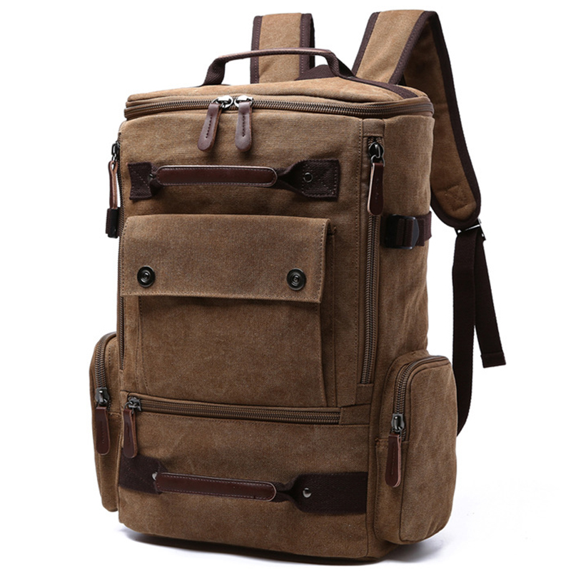 Canvas Ryggsekk Menn Solid Travel Vesker Mochila Masculina Bolsa School Bag Materiale Escolar Laptop Notebook Ryggsekker Ryggsekken