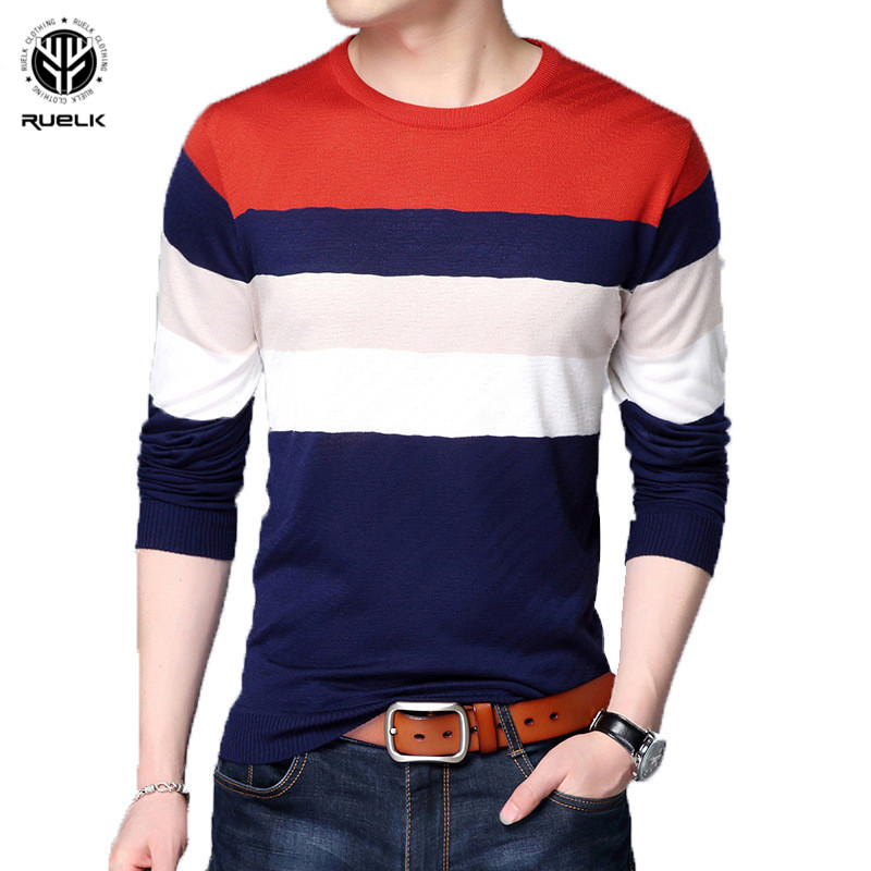 RUELK Long Sleeve Mens Casual Autumn Sweaters Patchwork Color Pullover O- Neck Long Sleeve Sweaters Men Casual Clothes Autumn