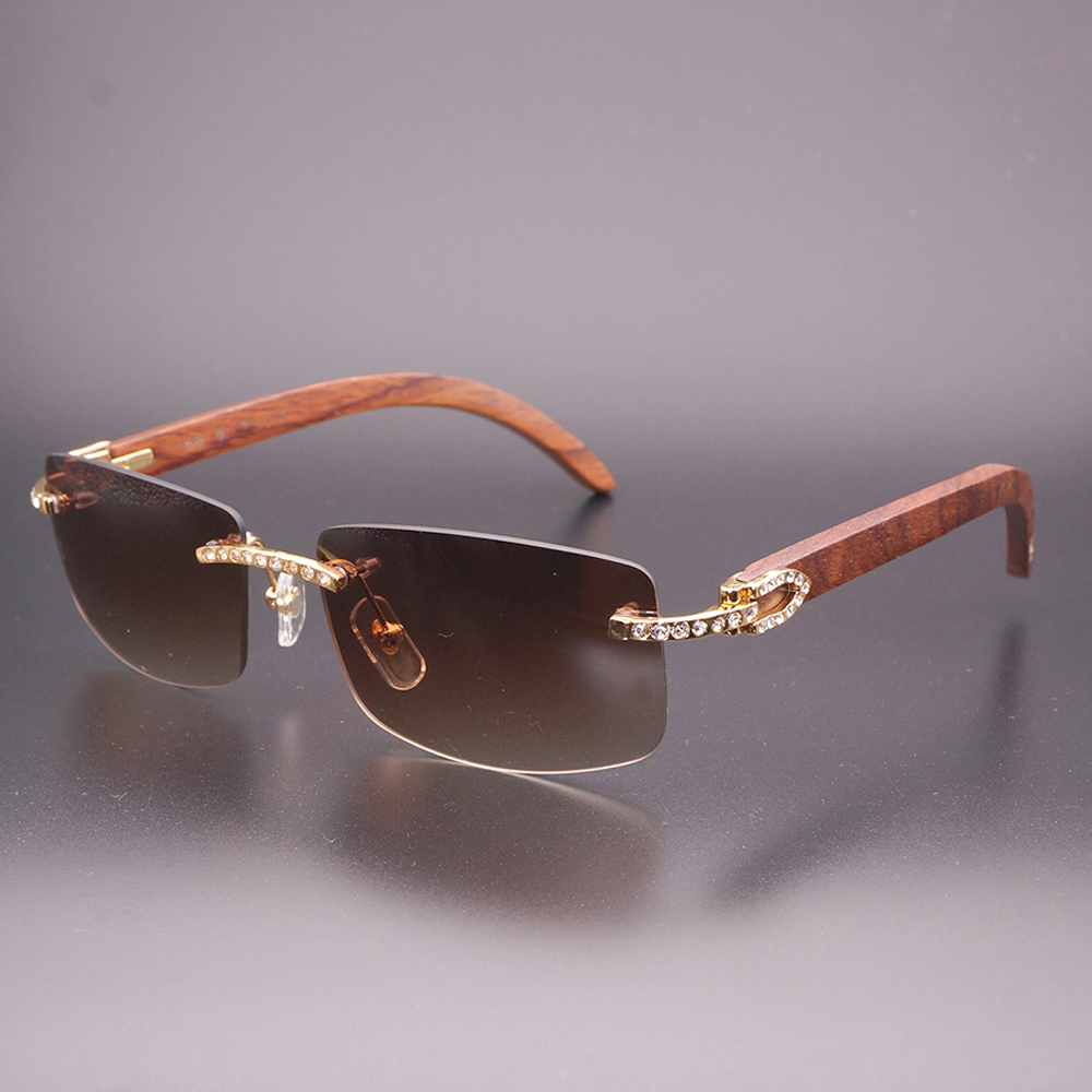 cb2856ea040 Rhinestone Rimless Sunglasses Men with Stone Black Wood Sunglasses Buffalo  Horn Glasses Retro Shades Classic Style Eyewear 012