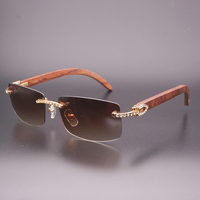 Luxury Rhinestone Black Mix White Buffalo Horn Rimless Sunglasses Men Wood Sun Glasses Retro Shades Classic Style Eyewear 012