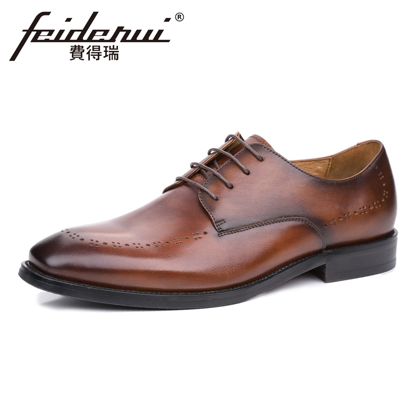 Luxury Genuine Cow Leather Men's Handmade Footwear Round Toe Man Derby Breathable Party Flats Formal Dress Wedding Shoes KUD83 brand new men genuine leather flats man casual shoes loafers cow suede leather weddng party black handmade formal shoe d966 3