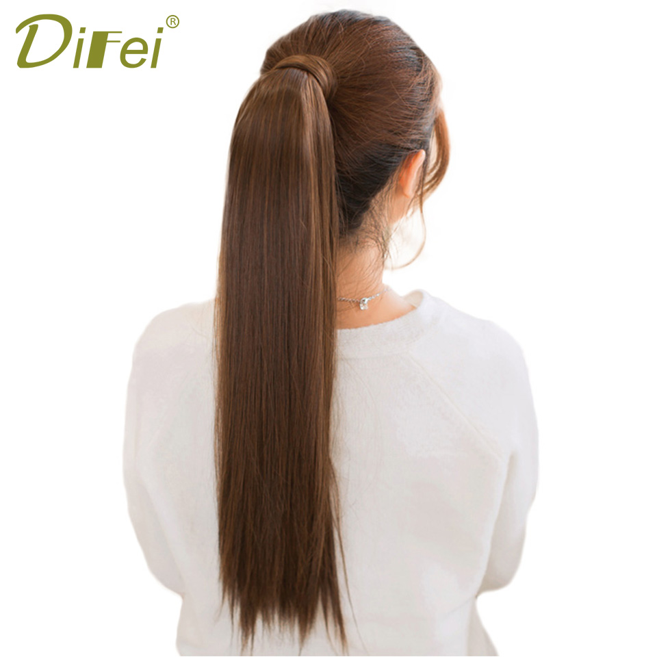 DIFEI Long Straight Hair Ponytail For Women Synthetic Ponytail Heat Resistant Fake Hair  ...