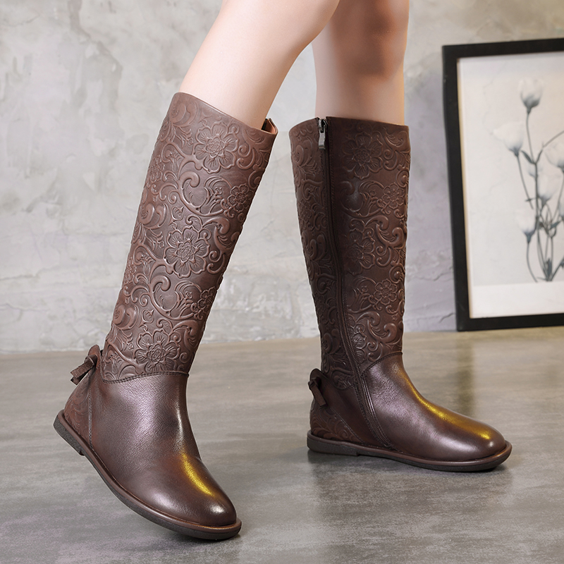 Elegant Embossed Flowers Shoes Woman Latest Old Fashioned Design High Boots Side Zipper Low Heel Lady
