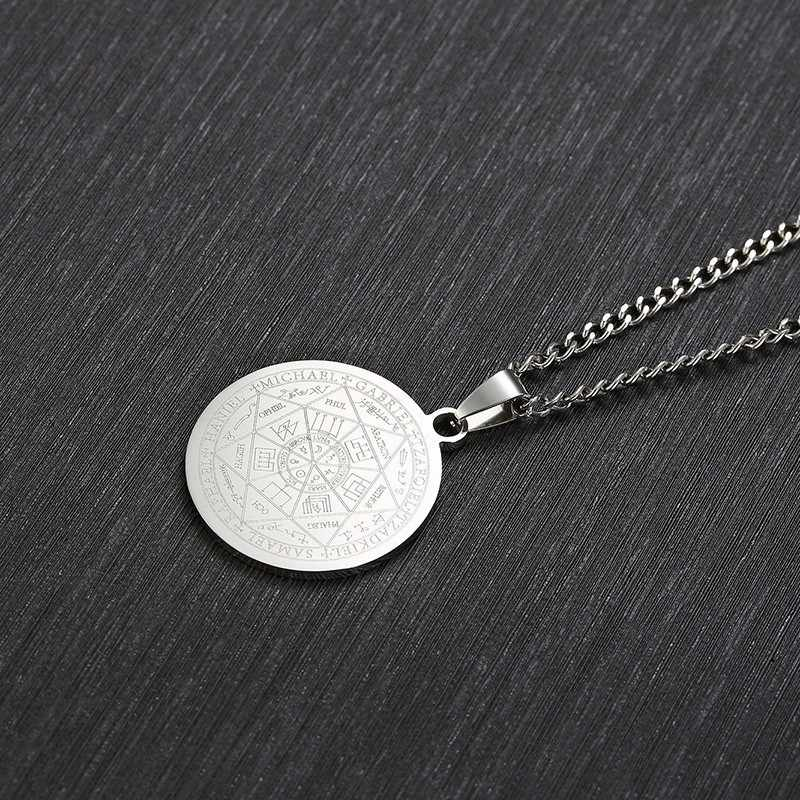 Mens Stainless Steel Necklace The Seal Of The Seven Archangels Solomon Kabbalah Amulet Pendant Seal Jewelry