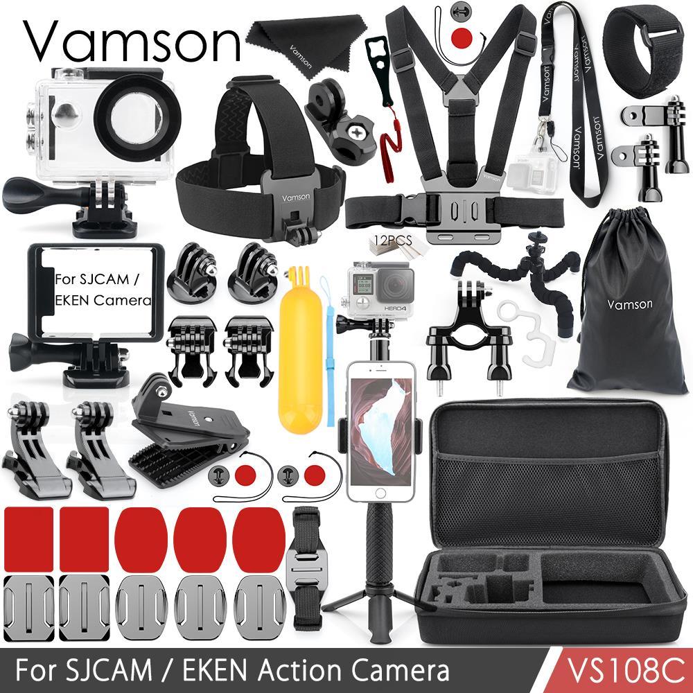Vamson pour SJCAM/EKEN H9 Accessoires Kit Montage Trépied Case Boîtier Étanche/Cadre Silicone Courroie De Cou Caméra VS108