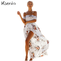 Ksenia 2017 Plus Size 5XL Floral Print Long Dress Boho Style Fashion Summer Beach Dresses Women
