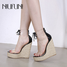 NIUFUNI Ladies Sandals Transparent Ankle Strap Waterproof Platform Women Shoes Summer High Heels Solid Color Wedges Shoes 2019 sorbern khaki women sandals rope high heels platform shoes summer style ladies work shoes wedges sandals ankle strap heels