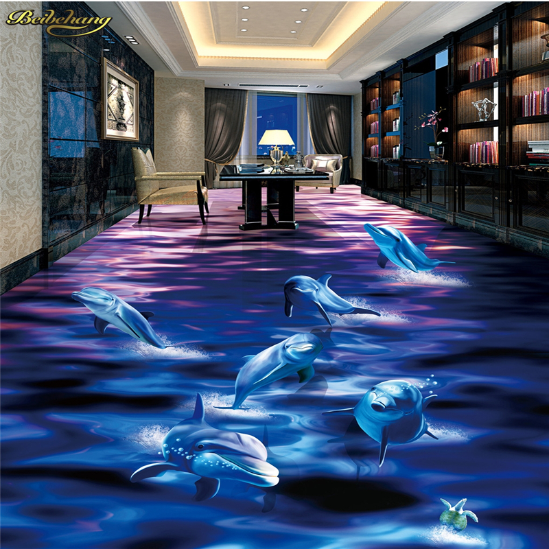 beibehang Custom Photo Wallpaper Floor Painting Hook Dolphin Out of Water Ocean World 3D Bathroom Living Room Floor 30 millennia of painting
