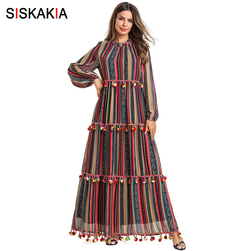 Siskakia Imité Soie De Couleur Stripes Imprimer conduites de carburant Vintage Ethnique Pompon Patchwork décontracté Maxi Robes Swing à manches longues