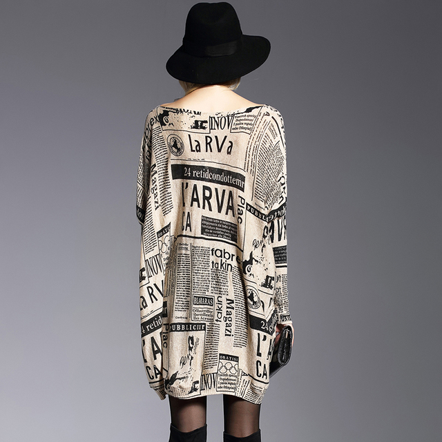 XIKOI Oversize Sweater Woman Fashion Letter Print Batwing Sleeve Pullovers Slash Neck Pullovers Computer Knitted Sweaters Female 1