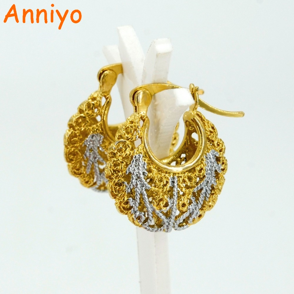 Anniyo Mixed Silver/Gold Color Color Earrings for Women/Girl, Two Tone Earring Middle East Jewelry Arab/Africa Gifts #001316