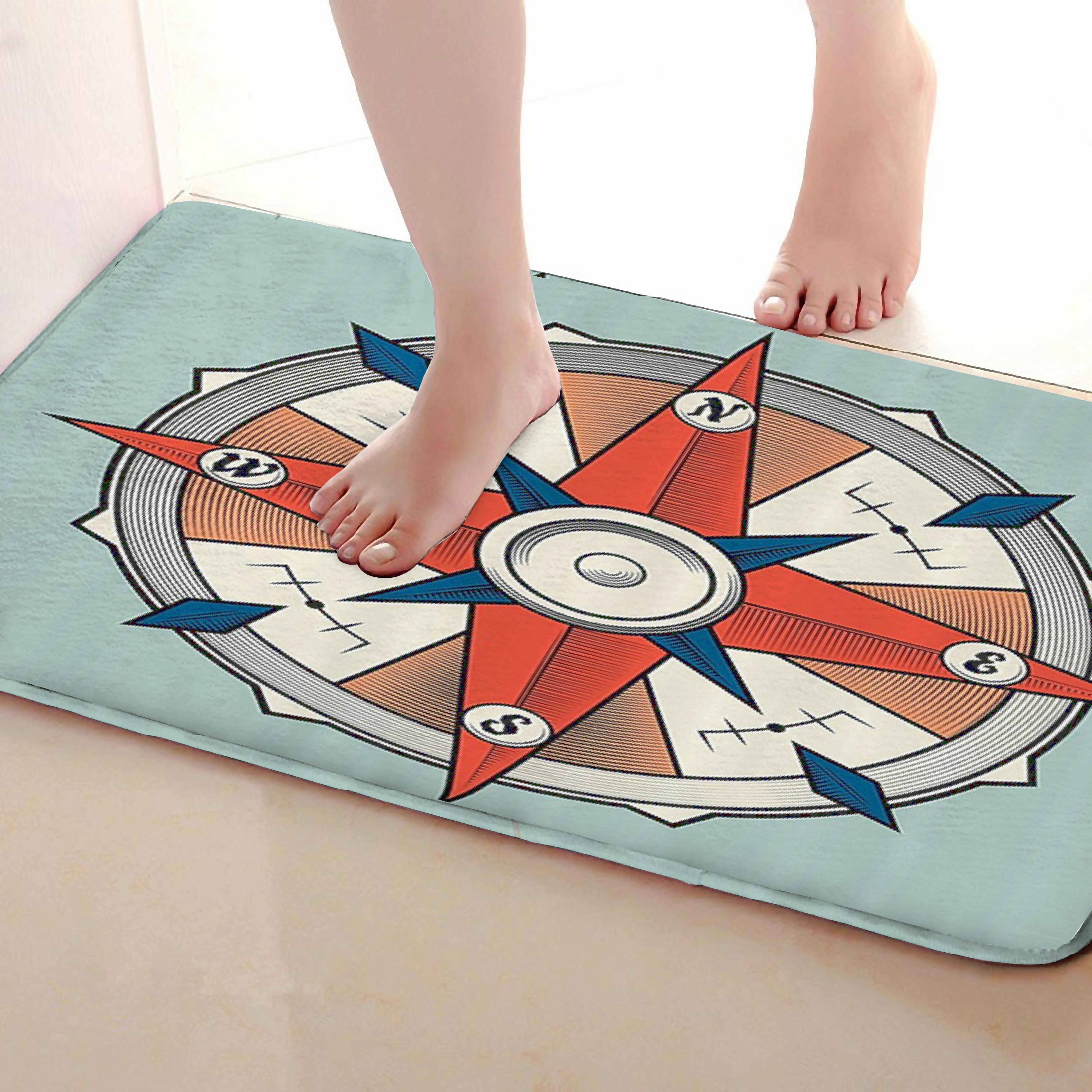 Compass Style Bathroom Mat,Funny Anti skid Bath Mat,Shower Curtains Accessories,Matching Your Shower Curtain