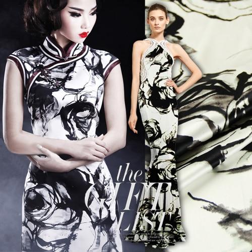 118cm wide 19mm ink large rose print mulberry silk satin cheongsam one piece dress fabric 486