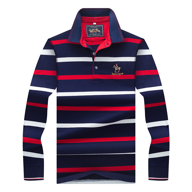 Beand Mens   Polo   Shirt Long Sleeve Autumn Fashion Striped Cotton Fit Slim Business Causal Lapel   Polos   Men Top Tees 3XL AF8805