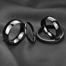Free Shipping Mens Titanium Band Ring Brushed Polished Wedding Black Size 4-15