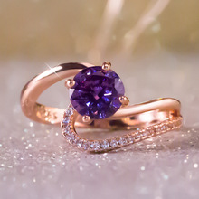 Huitan Luxury Wedding Ring Mysterious Purple Crystal Stone Prong Setting Women Band With Micro Paved Anniversary