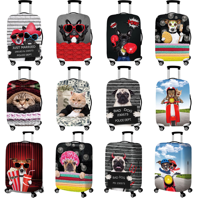 Bulldog Pattern Travel Accessories Luggage Cover Suitcase Protection Baggage Dust Cover Stretch Fabrics Trunk Set Cases For