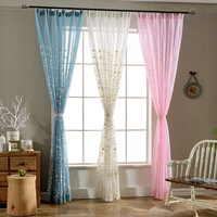 Rustic Style Curtains Leaves Pattern Transparent Tulle Decor Curtains Country Decor Curtains For Living Room Bedroom