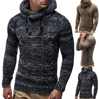Men Sweaters 2018 New Autumn Warm Button Sweaters Man Casual Knitwear Winter Men Kakhi Sweatwer XXL