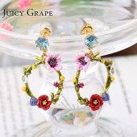 טבעת אוזן Brincos Aretes De Mujer Cristal מדהים תכשיטי אופנה עגילי פרח פרג Sieraden Joyas Pendientes חרישת Kupe
