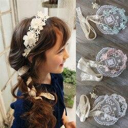 Moda Infantil Acessórios Para o Cabelo Longo Rendas Hairbands Doce Princesa Headband Da Fita Da Flor Grinalda Meninas Headwear