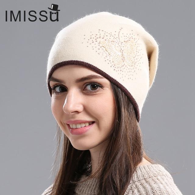 Women's Winter Wool Skullies Casual Beanie with Butterfly Pattern 1