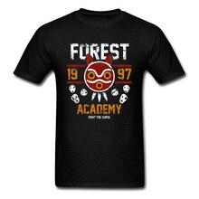 Forest Academy T-shirt Mononoke Hime Princess Tshirt Spirit Print Men T Shirt Japan Anime Black Tees Cotton Tops Vintage Design