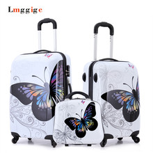 Cartoon butterfly picture design Luggage,20″24″inch Carry-Ons,Child Women's Suitcase,ABS Travel Bag,Universal wheel Trolley box