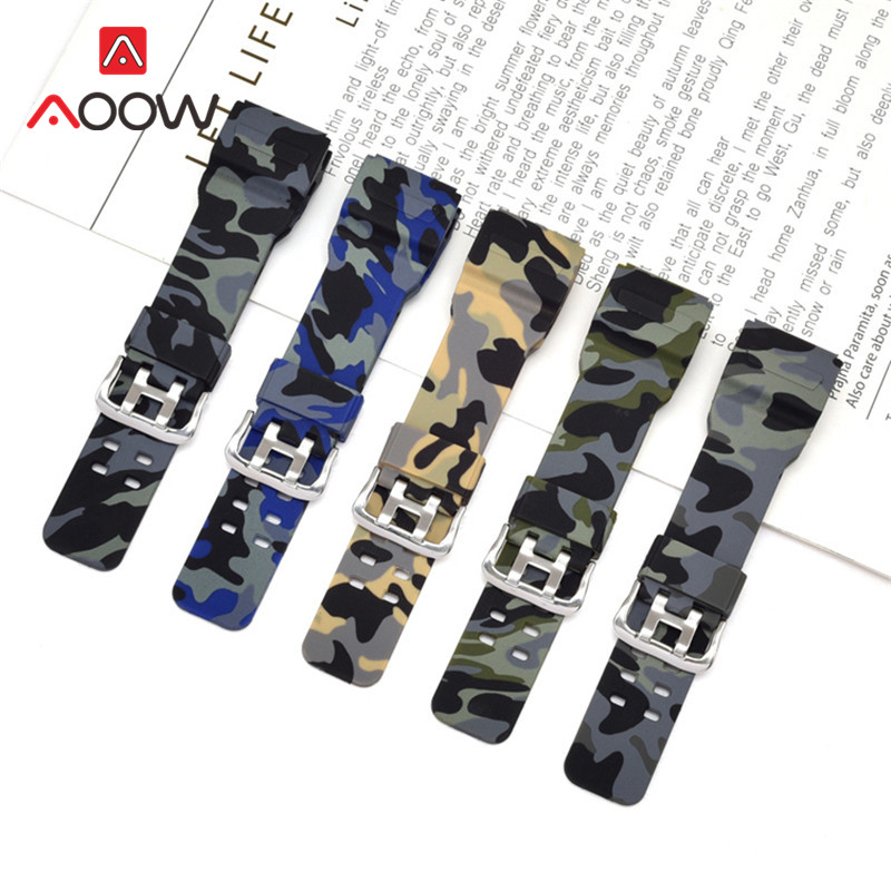 Silicone Camouflage Watchband for Casio G-Shock GG-1000/GWG-100/GSG-100 Rubber Waterproof Men Replacement Band Strap Accessories image