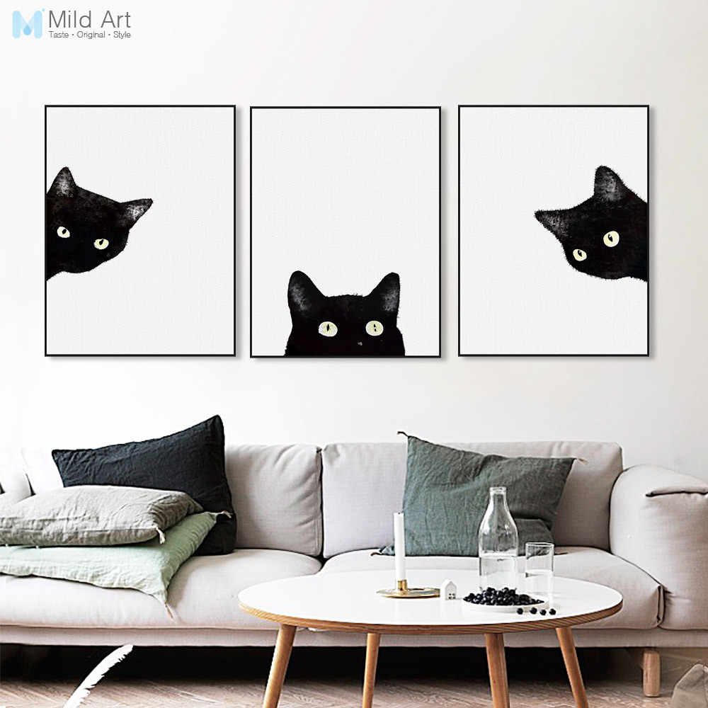 Watercolor Black White Cat Kitten Face Animal Posters and Prints Nordic Living Room Wall Art Pictures Home Decor Canvas Painting