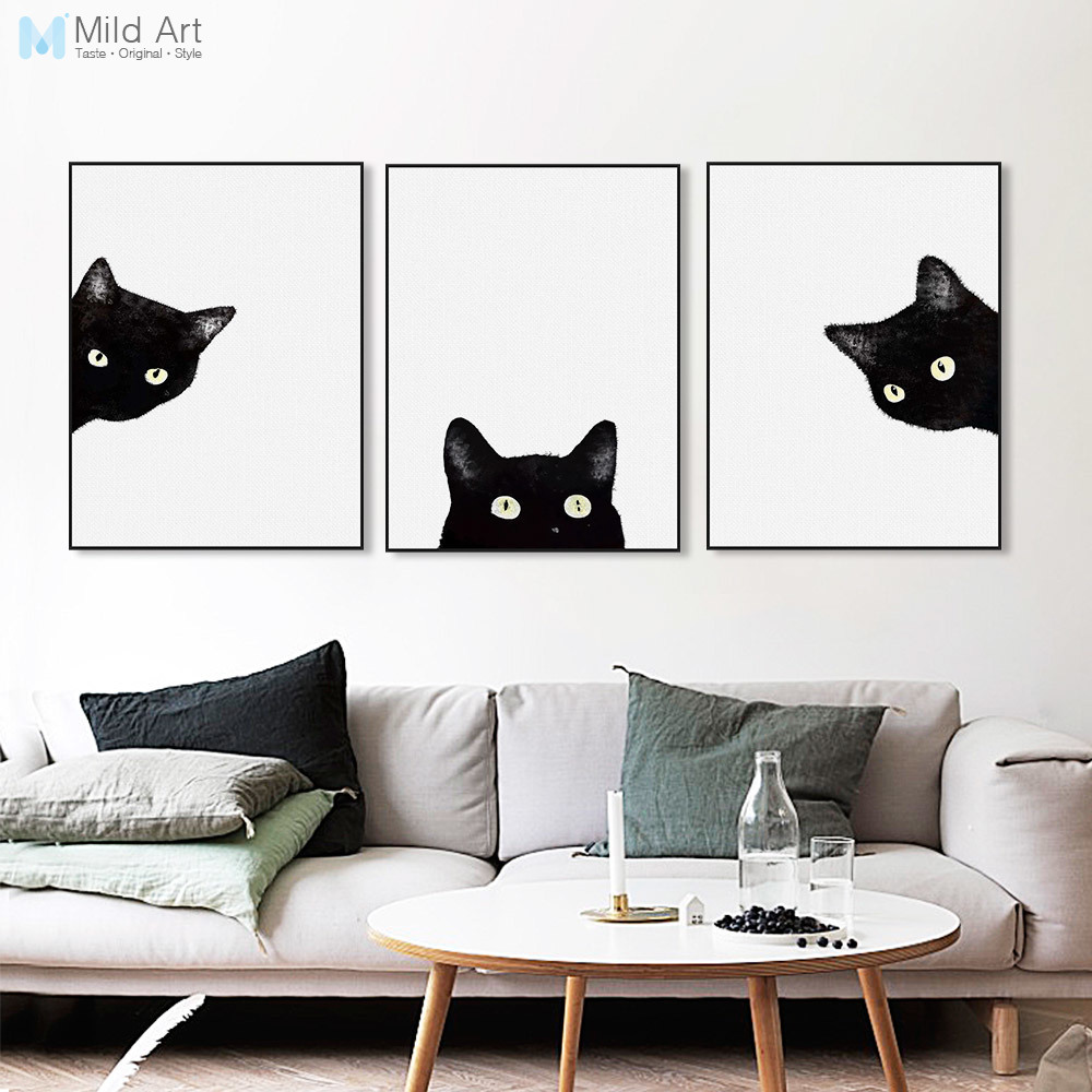 Kawaii Watercolor Black Cat Head Animal Art Print Poster