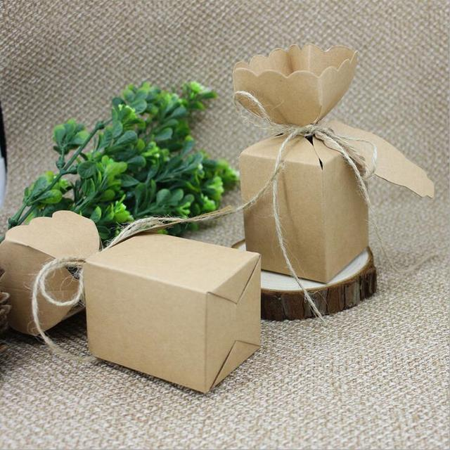 100pcs Kraft Paper Candy Box For Wedding With Thank You Tag
