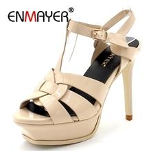 купить ENMAYER Genuine Leather High Heel Sandals Women Footwear Lady Platform Shoes Party Sexy Wedding Shoes Open toe Thin heels CR381 по цене 2928.25 рублей