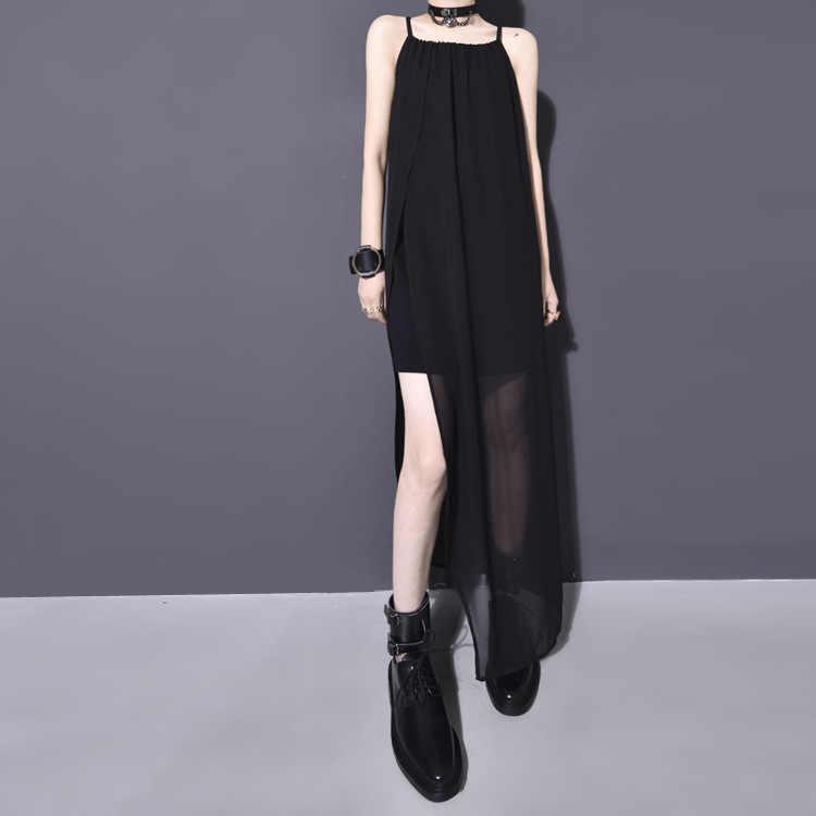 Женская Корейская версия 2019 Весна и лето ультра-тонкий праздник ветер жилет Слинг шифоновое платье с круглым вырезом сшивание свободное платье