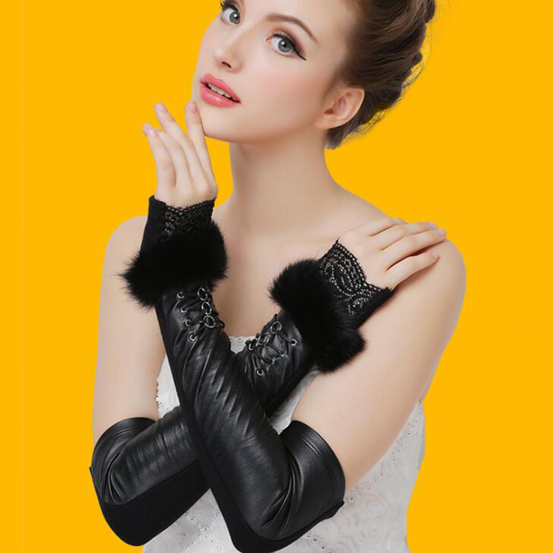 Female Winter Long Genuine Leather Lace Fingerless Sleeves Fashion Sexy Women Sheepskin Rabbit Hair Plus Velvet Warm <font><b>Gloves</b></font> L78