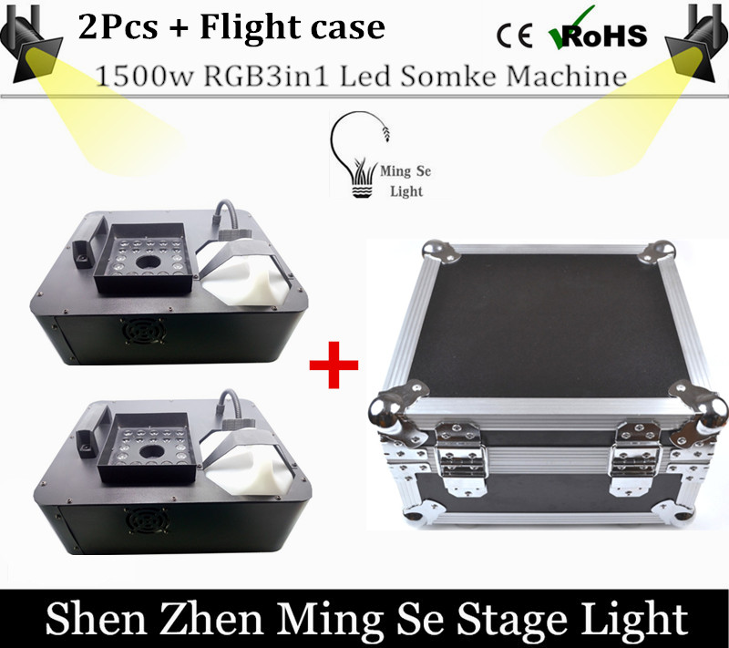Flight case 24x3w RBG 3in1 Led  fog machine remote control 1500W smoke machine professional DJ lighting equipment light effects