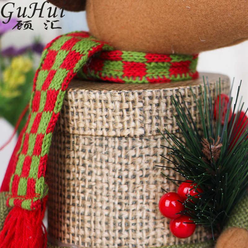 2 шт., Рождественское украшение, льняная Подарочная коробка, милый шарф Санта Клауса, олень, снеговик, конфеты, банка, новогодние поставки, льняные плюшевые держатели для кукол